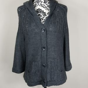 Women's XL BCBG Maxazria Gray knit hooded Cardigan